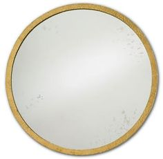 Evelyn Hollywood Regency Gold Antique Round Mirror