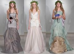 Vera Wang's mother nature inspired dresses are heavenly. Her models were beautifully imagined as Greek Goddess fairies with halos of ivy perched upon tousled hair, dressed in earth tones of grey, green, yellow, brown and, you guessed it, white. Wang's dresses are free of fussy embellishment and instead achieve ethereal status thanks to the occasional rose or bow. Blissful.