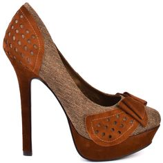 It will be hard to tame your inner fashionista when this Naughty Monkey pump is slipped on.  Untamed consists of a tan textile upper with cognac suede detail adorned with circular cut outs.  An adorable bow is placed at the vamp while a 1 inch platform and 5 inch stiletto heel adds height.