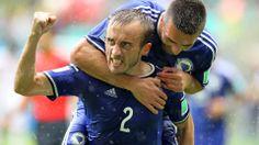 Avdija Vrsajevic of Bosnia and Herzegovina celebrates