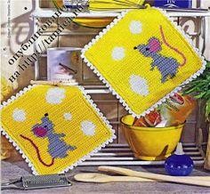 mouse and cheese crochet potholder Crochet Kitchen, Crochet Home, Love Crochet, Crochet Potholders, Crochet Squares, Crochet Diagram, Crochet Hot Pads, Tapestry Crochet, Ideas