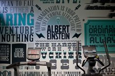 Typographic mural provides inspiration for gym goers