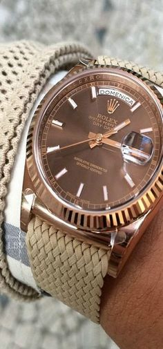 rose gold Rolex. beige perlon strap. /// Founded 170 years ago, GOBBI 1842 is an official retail store for refined jewelleries and luxury watches such as Rolex in Milan. Check the website : http://www.gobbi1842.it/?lang=en