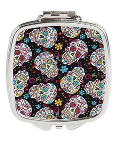 Another great find on #zulily! Black & Turquoise Sugar Skull Compact Mirror #zulilyfinds