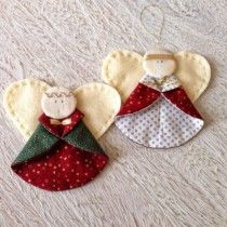 Sweet little Christmas Angels made of felt and fabric by Selimut-Ku #sewing #felt #fabric #stof #vilt #christmasornament #kersthanger #kerstengel #engel