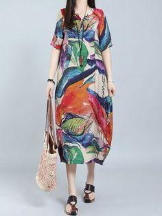 Hot-sale O-NEWE Vintage Floral Printed Short Sleeve Pocket Dress For Women    · Caftan DressClothing ... 71b8354b0f3