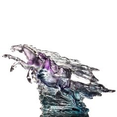 """Horse Figurines (Beloved) - """"Forever Entwined, The Stars And Moon"""" – Deluxe Collectible Glass Art   LIULI Crystal Art $1,020.00"""