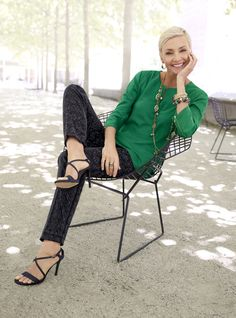 Green & Gorgeous: A sumptuous jewel-tone blouse, a snappy pair of jacquard ankle pants, and plenty of brilliant baubles. #Fall #chicos