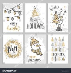 Christmas hand drawn cards with Christmas trees, snowman, deer and wreath. Vector illustration.