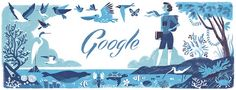 "Google Doodle celebrating environmentalist Rachel Louise Carson, author of ""Silent Spring,"" on her 107th birthday"