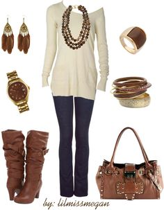 """BROWN up your accessories!"" by lilmissmegan on Polyvore"