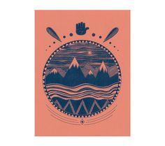 Landschaft über Wasser - Riso-Print