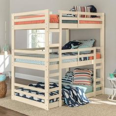 Walker Edison Furniture Company Solid Wood White Twin Triple Bunk Bed