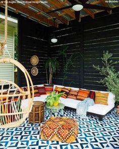 DIY Decorating Ideas for Stenciling a Porch or Patio Floor Design – Royal Design Studio Stencils Tile Floor Diy, Stenciled Floor, Ideas Cabaña, Moroccan Wall Stencils, Large Stencils, Tile Stencils, Stenciling, Patio Flooring, Outdoor Living