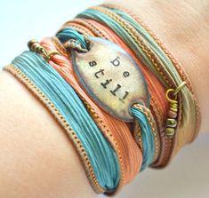Be Still Silk Wrap Bracelet Boho Yoga Bracelets Jewelry And Know