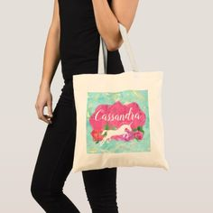 Watercolor Flower Unicorn Pink Blue Girls Name Tote Bag - girly gift gifts ideas cyo diy special unique