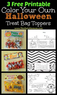 Free Printable Color Your Own Halloween Treat Bag Toppers.  With this thrifty little craft project you simply print, color and attach them to your candy or cookie treats!