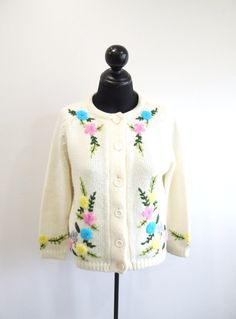 1960s Floral Cardigan Vintage 60s Ivory Sweater by RedsThreadsVintage, $34.00