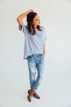 Perfect Tee in Blue – cladandcloth