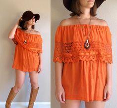 vtg 70s off-shoulder ORANGE Mexican Crochet Lace PEASANT TUNIC top os boho hippie summer. $36.00, via Etsy.