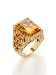 Garrard Grace Emerald Cut Citrine & Yellow Sapphire Filigree Ring