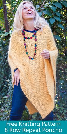 Crochet Poncho SKILL LEVEL: Easy—the project involves basic knit and purl pattern and simple shaping and finishing. Poncho Knitting Patterns, Loom Knitting, Knit Patterns, Free Knitting, Free Knit Poncho Pattern, Knitting And Crocheting, Simple Knitting, Knit Or Crochet, Crochet Shawl