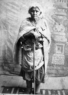 Washee - Navajo Medicine Woman - over 80 years - wearing clothing typical of Reservation days. - Washee was known as an old beggar around Fort Wingate, New Mexico. - Studio Portrait by Christian Barthelmess - No date - (B/w copy)