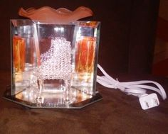 Piano Glass / Mirror Orange Tinted  Aroma Oil Burner/ Warmer (electric) by Fragrance4you on Etsy