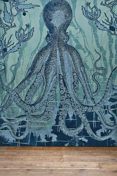 Octopus Tapestry Throw in Blue