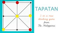Tapatan: A Brain Boosting Twist on Tic-Tac-Toe Tapatan is a 3 in a row abstract strategy game from The Philippines. An easy and simple game to make and easy to learn how to play. Playing this game will give kids' brains a boost! Math Logic Games, Math Games For Kids, Fun Games, Games To Play, Activities For Kids, Crafts For Kids, Preschool Ideas, Battle Games, School Games