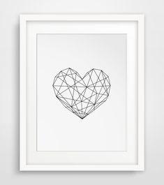 Geometric Heart, Modern Decor, Digital Prints, Geometric Art Printable, Wall Decor, Scandinavian Poster, Geometric Poster, Instant Download