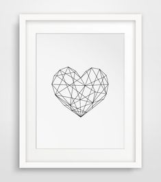 Geometric Heart, Modern Decor, Digital Prints, Geometric Art Printable, Wall Decor, Scandinavian Poster, Geometric Poster, Instant Download