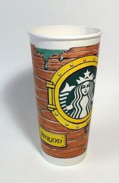 Art by Karen Bell-Zinn. Starbucks Cup Art, Starbucks Drinks, Starbucks Coffee, Coffee Cup Art, Coffee Love, White Cups, Cute Disney, Custom Cups, Concrete Wood