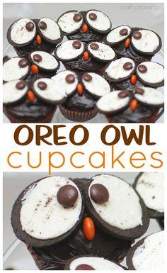 Make fun oreo owl cupcakes for a Halloween treat! Make fun oreo owl cupcakes for a Halloween treat! Owl Cupcake Cake, Kid Cupcakes, Owl Desserts, Dessert Recipes, Cupcake Recipes For Kids, Halloween Desserts, Fun Foods To Make, Just Bake, Savoury Cake