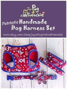 Patriotic dog harness set, of July, Memorial day, labor day Red Dog, Pink Dog, Dog Harness, Dog Leash, Dog Pin, Dog Photography, Dog Quotes, Dog Accessories, Dog Design
