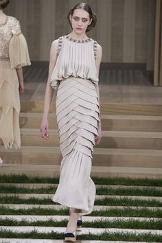 Chanel Spring 2016 Couture collection...stunningly textured, off-white gown...LOVE it.-RUNWAY