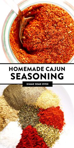 The best homemade Cajun Seasoning recipe! It only takes about 5 minutes to make,. Cajun Spice Recipe, Cajun Seasoning Recipe, Cajun Recipes, Seasoning Mixes, Cooking Recipes, Cajun Rub Recipe, Cajun Spice Mix, Haitian Recipes, Gastronomia