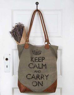 'Keep Calm' Canvas/Leather Tote Bag