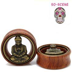 Buddah Wood and Brass Ear Gauges - So Scene  So Scene SO SCENE  BUY 2 GET 1 FREE ALWAYS