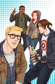 The TWS gang in hipster disguise. Bucky is none too sure about this.