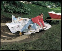 DIY Tip of the Day: Protect a Pond Liner With Newspaper. Before you lay down a flexible pond liner, cushion the pond bed with a 1/2-in. thick layer of newspapers. The newspaper helps prevent punctures and will eventually decompose, forming a clay-like layer that will hold water even if the liner leaks.