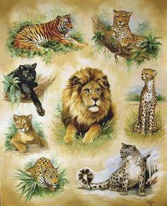 Linda Picken Art Studio / Big Cats Montage.jpg