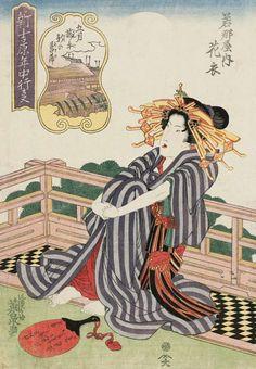 Hanagoromo of the Wakanayo.Ukiyo-e woodblock print, about 1830's, Japan, by artist Keisai Eisen.