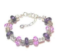 Deep Purple Murano Lampwork European Bracelet by BevmarDesigns