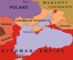 The Khanate of Crimea in 1600 — the last successor state to the Mongol Empire, run by the Crimean Tatars, a vassal of the Ottomans from 1475-1774, and annexed by Russia in 1783