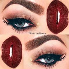 Bold dark red lips and cat eye. Absolutely LOVE this!