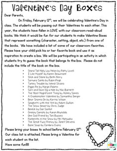 Valentines Day Mailbox Letter For Parents