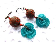 Roses are teal brown & red Teal blue by McKeeJewelryDesigns