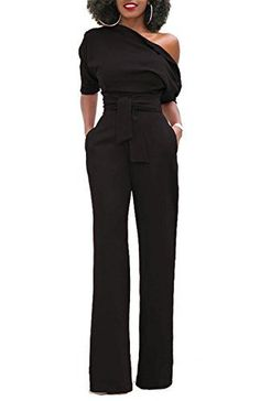 6af2ce3999b9 ONLYSHE Women s Sexy One Shoulder Solid Jumpsuits Wide Leg Long Romper  Pants with Belt - Please check the measurement chart carefully before you  buy the ...