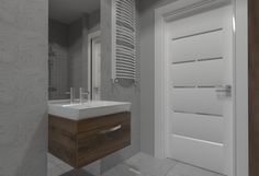 Projekt szarej nowoczesnej łazienki od studia novoART Vanity, Bathroom, Dressing Tables, Washroom, Powder Room, Bathrooms, Vanity Organization, Bath, Vanity Desk
